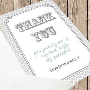 Hen Party And Wedding 'Thank You' Card