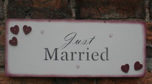 Handmade Wooden 'Just Married' Sign