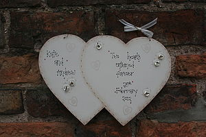 Handmade Wooden Entwined Wedding Heart Keepsake - signs