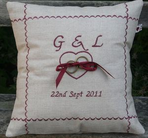 Handmade Personalised Wedding Ring Cushion - cushions