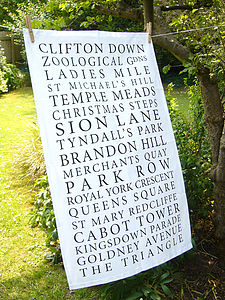 'Bristol Places' Tea Towel White