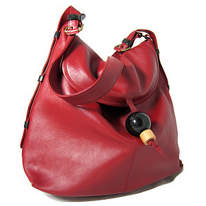 Large Leather Hobo Handbag With Adjustable Handle - women's accessories
