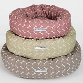 M&H Bone Print Donut Dog Bed - pets