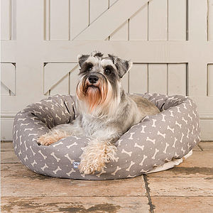 M&H Bone Print Donut Dog Bed - stylish pet accessories for the home