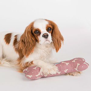 Dog And Bone Print Cotton Canvas Squeaky Dog Toys
