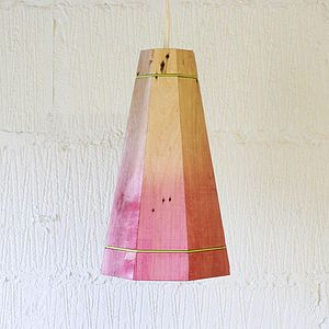 Large Colourful Wooden Pendant Light - blush bedroom