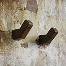 Set Of Two Handmade Oak Coat Hooks