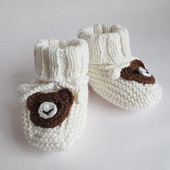 Hand Knitted Bear Booties Gift Boxed