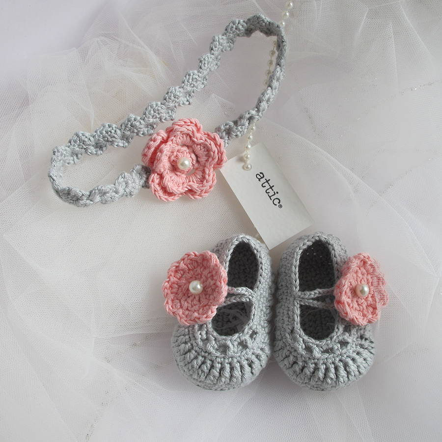 Hand Crochet Baby Shoes With Headband By Attic
