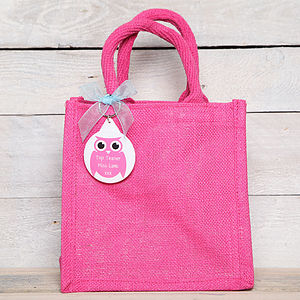 Personalised Jute Bag With Owl Key Ring - ribbon & wrap