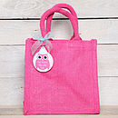 Personalised Jute Bag With Owl Key Ring