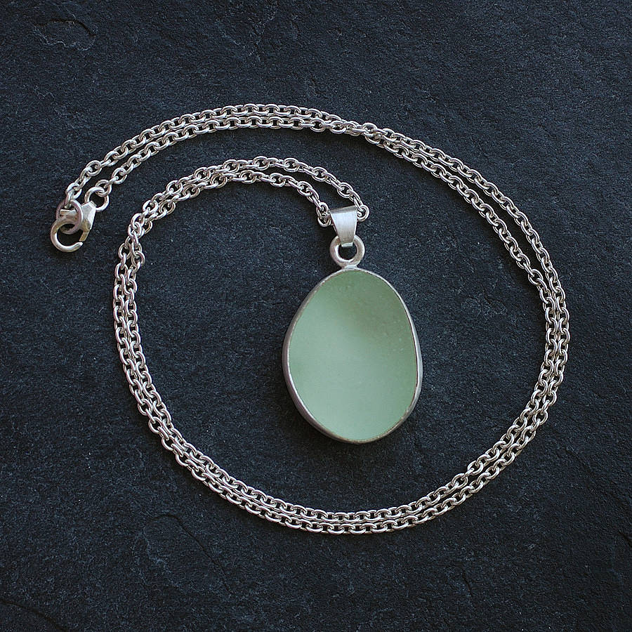 Natural Pale Green Sea Glass Pendant By Tania Covo