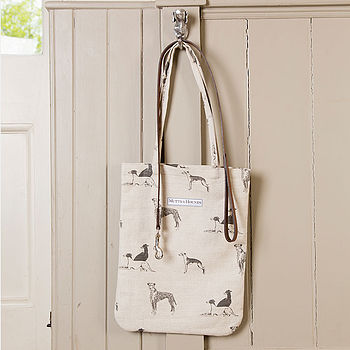Long Dog Linen Tote Bag