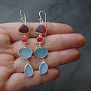 Red And Grey Four Drop Sea Glass Earrings