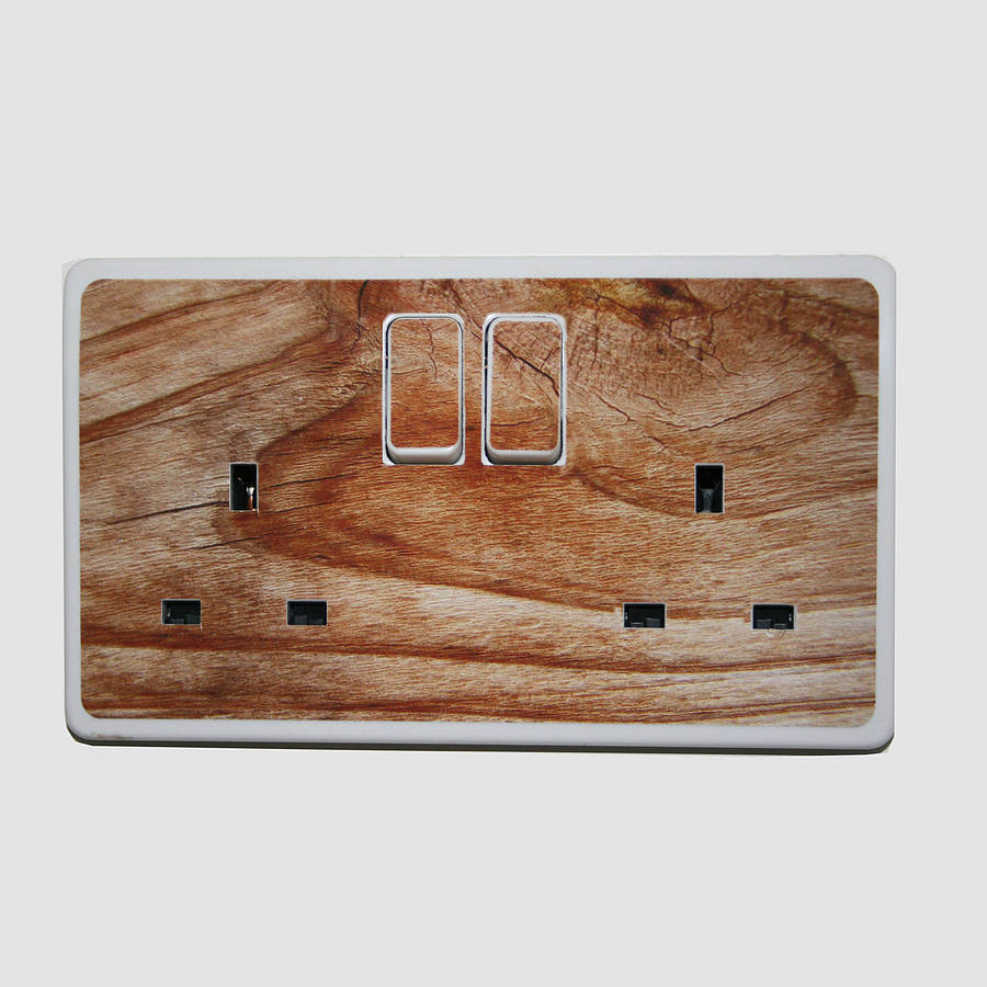 'Wood Effect Plug Socket Stickers'