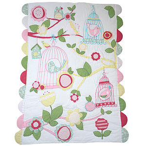 Personalised Love Bird Quilt Optional Toy Bag