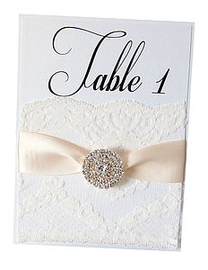 Crystal & Lace Table Number - table decorations