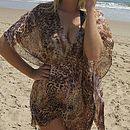 Tan And Black V Neck Cover Up