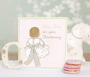 Personalised 'My Bow' Christening Card