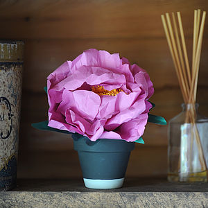 Everlasting Blooming Paper Peony In Pot - artificial flowers