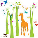 Giraffe Trees And Leaves Wall Stickers