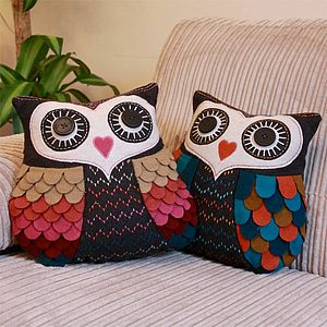 Vintage Inspired Felt Owl Cushion - cushions