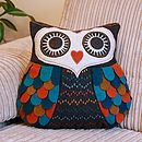 Penelope teal and rust coloured cushion