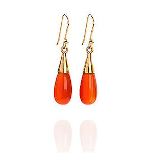 Carnelian 18 Karat Gold Vermeil Drop Earrings - earrings