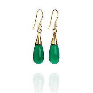 Green Onyx 18 Karat Gold Vermeil Earrings - earrings