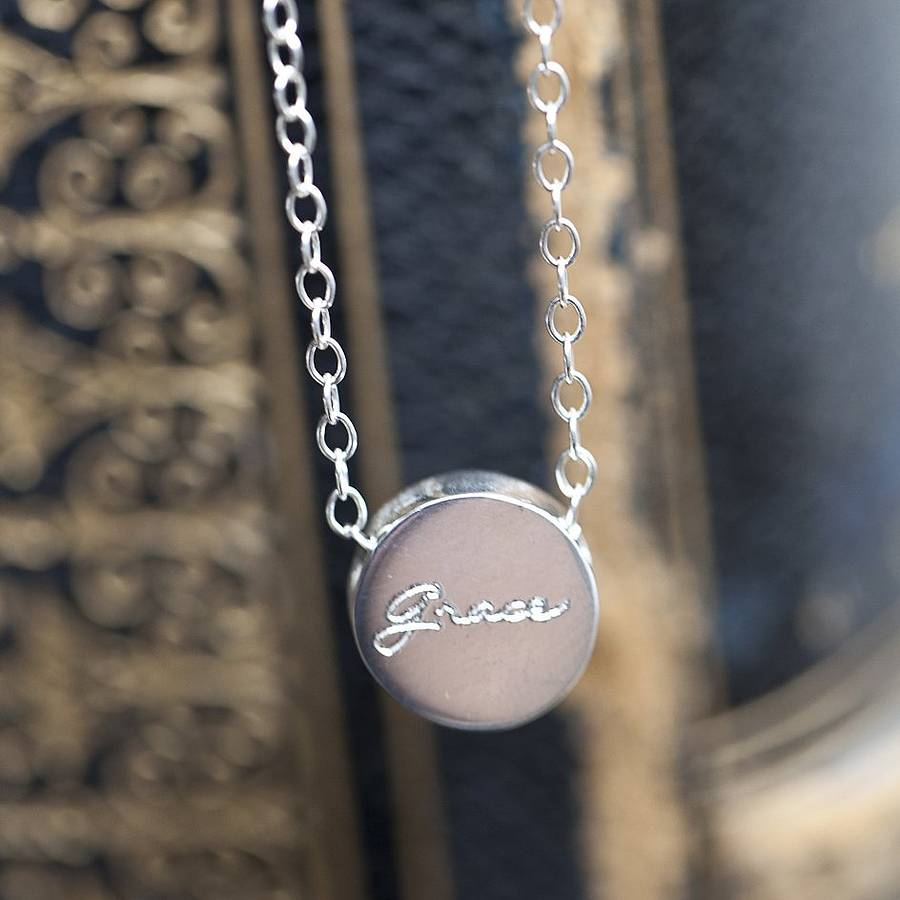 personalised silver engraved circle pendant by the