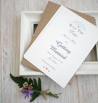 Personalised Save The Date Card Blue Lace