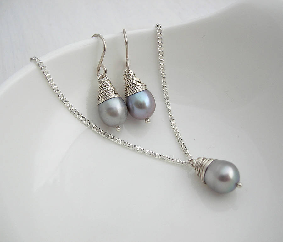 Grey Baroque Pearl Necklace And Earring Set Bridal Jewellery