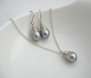 Grey Baroque Pearl Necklace And Earring Set - earrings