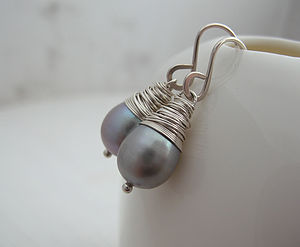 Grey Baroque Pearl Earrings - earrings