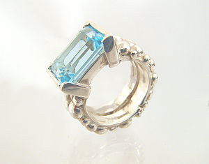 Blue Topaz Jewel Cocktail Ring - rings
