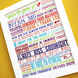 Personalised 'Rules To Grow By' Print - family & home
