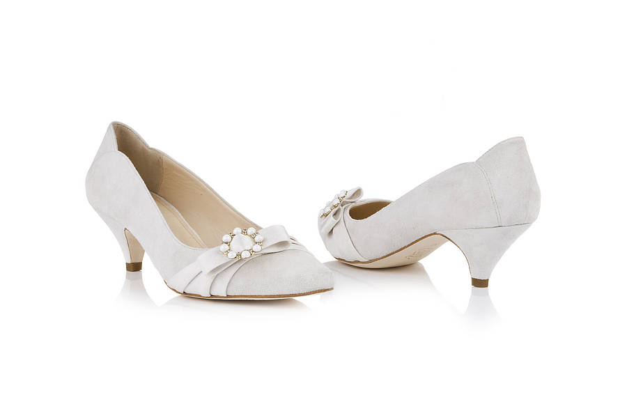 Kitten Heel Cream Wedding Shoes - The Cutest Kittens