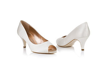Snowdrop Satin Peep Toe Shoes