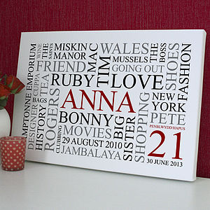 Personalised 21st Birthday Word Art Print - paintings & canvases
