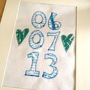 Personalised Screen Printed Fabric Date Artwork