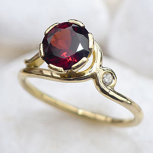 Garnet Ring In 18ct Gold With Diamond Accent - rings