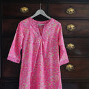 Kaftan Florence Nightdress In Rosy Watergarden