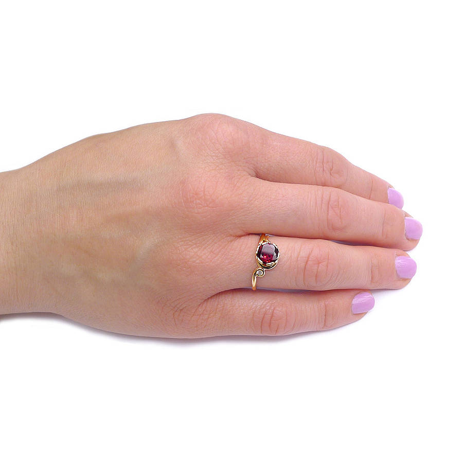 garnet ring in 18ct gold with diamond accent by lilia nash jewellery ...