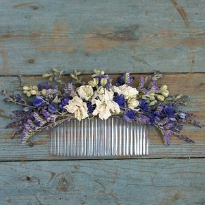 Provence Dried Flower Hair Comb - wedding shoes & accessories