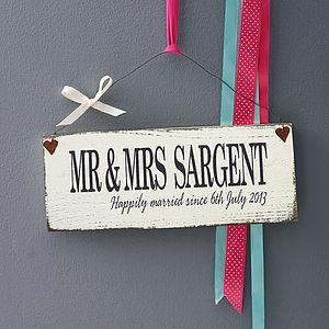 Personalised Wedding Moment In Time Sign - engagement gifts