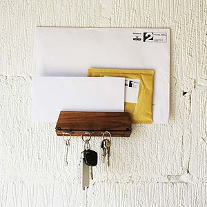 Oak Wall Key Hook And Mail Organiser