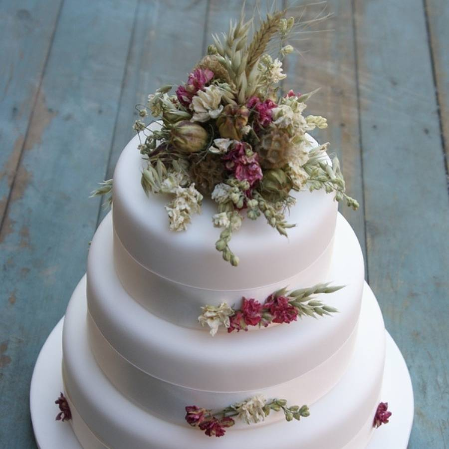 rustic dried flower wedding cake decoration by the artisan ...