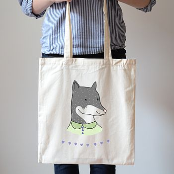 SALE Animal Portrait Canvas Bag