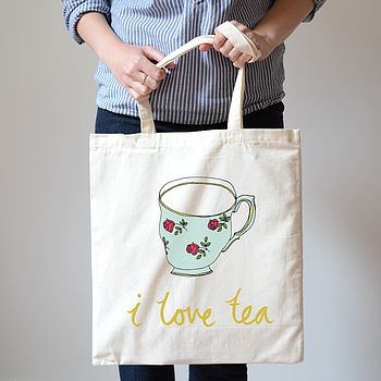 I Love Tea Vintage Tea Cup Design Canvas Bag
