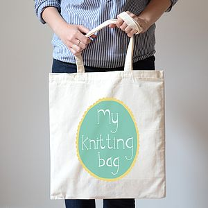 Custom Knitting Craft Or Book Tote Bag - bags & purses